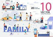 Relatives Happy Family Life Flat Vector Scenes Set