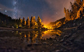 Low angle view on a scenic mountain views of a night sky in wilderness area in Serbia