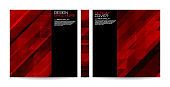 Brochure template with red striped overlapping diagonal triangles. Magazine, poster, book, presentation, advertising. Cover design your text