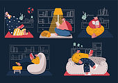 A set of illustrations of reading people with books in the home library. People in different reading positions. Vector cartoon character.