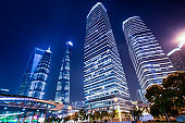 Architectural landscape and street lighting of Shanghai Financial Center