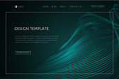 Abstract tech background with waveform lines Landing page Design template for web page website page cover wallpaper brochure Dark tech abstract futuristic background with waveform lines Vector landing
