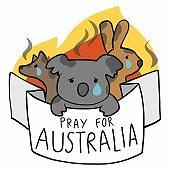 Pray for Australia koala and kangaroo and wolf cartoon vector illustration