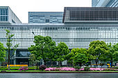 Office building and street view of Shanghai Financial District Plaza