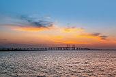 Qingdao cross sea bridge at sunset