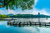 Beautiful landscape and architectural landscape of West Lake in Hangzhou