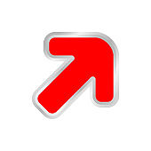 red arrow pointing right up, clip art red  arrow icon pointing for right up, 3d arrow symbol indicates red direction pointing to right up, illustrations arrow buttons right up isolated