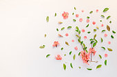 Colorful springtime background flat lay top view