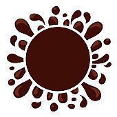 chocolate brown splash blob for banner background, drop brown liquid splash, icon splashing chocolate blob droplet, illustrations cocoa brown liquid splash shape, symbol chocolate drop splatter flow
