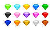 colorful diamond gemstone for jewelry isolated on white, flat diamonds color set, crystal gems various colors, Illustration diamond gems, shiny diamond icon, clip art gemstone, jewellery of items game