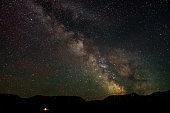 milky way sky stars mountains night