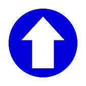 arrow pointing up white in circle blue for icon flat isolated on white, circle with up arrow for button interface app, arrow sign of next or download upload concept, arrow simple symbol for direction