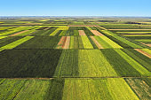 Aerial view of beautiful plain countryside landscape