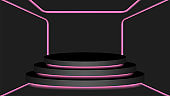 black circle pedestal 3d and pink light neon lamp glowing, cosmetics display modern and led light, podium stage show for position decor pink fluorescent glow light, pedestal box for product place