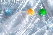 blurred plastic bottles texture for background, plastic garbage waste blur image