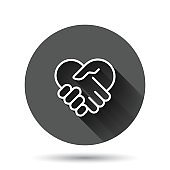 Handshake icon in flat style. Partnership deal vector illustration on black round background with long shadow effect. Agreement circle button business concept.