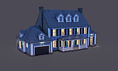 3d rendering of modern classic house in colonial style in night isolated on black