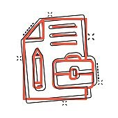 Document note with pen icon in comic style. Paper sheet pencil and briefcase cartoon vector illustration on white background. Notepad document splash effect business concept.