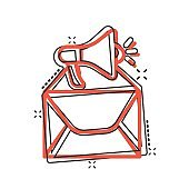 Envelope notification icon in comic style. Email with speaker cartoon vector illustration on white isolated background. Receive mail message splash effect business concept.