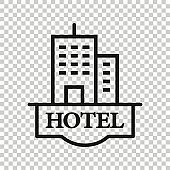 Hotel sign icon in flat style. Inn building vector illustration on white isolated background. Hostel room business concept.
