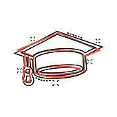 Graduation hat icon in comic style. Student cap cartoon vector illustration on white isolated background. University splash effect business concept.