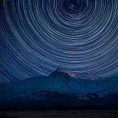 Digital composite image of star trails around Polaris with Eic landscape image of Snowdonia snowcapped mountains