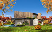 3d rendering of modern cozy house with parking and pool for sale or rent with wood plank facade and beautiful landscaping on background. Clear sunny autumn day with golden leaves anywhere.
