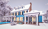 3d rendering of modern classic house in colonial style in winter evening