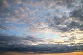 Stunning landscape image of Summer sunset colorful vbrant sky