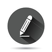 Pencil icon in flat style. Pen vector illustration on black round background with long shadow effect. Drawing circle button business concept.
