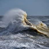 Amzing image of individual wave breaking and cresting during violent windy storm with superb wave detail