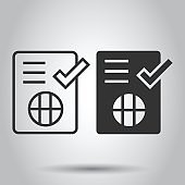 To do list icon in flat style. Document checklist vector illustration on white isolated background. Notepad check mark business concept.