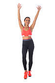 Fitness girl with arms raised