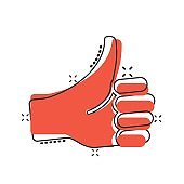 Thumb up icon in comic style. Like gesture cartoon vector illustration on white isolated background. Approval mark splash effect business concept.