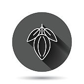 Cocoa bean icon in flat style. Chocolate cream vector illustration on black round background with long shadow effect. Nut plant circle button business concept.