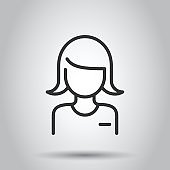 Woman face icon in flat style. People vector illustration on white background. Partnership business concept.
