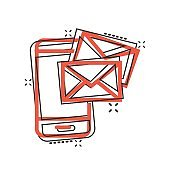 Message on smartphone icon in comic style. Mail with phone cartoon vector illustration on white isolated background. Envelope splash effect business concept.