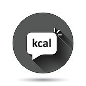 Kcal icon in flat style. Diet vector illustration on black round background with long shadow effect. Calories circle button business concept.