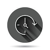Clock icon in flat style. Watch vector illustration on black round background with long shadow effect. Timer circle button business concept.
