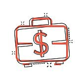 Money briefcase icon in comic style. Cash box cartoon vector illustration on white isolated background. Finance splash effect business concept.
