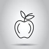 Apple icon in flat style. Fresh fruit vector illustration on white isolated background. Juicy food business concept.