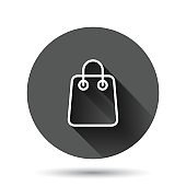 Shopping bag icon in flat style. Handbag sign vector illustration on black round background with long shadow effect. Package circle button business concept.