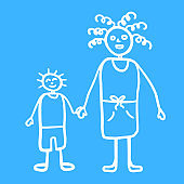 Silhouette of mama and son walking together outdoors, smiling and holding hands,  vector