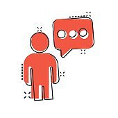 People with speech bubble icon in comic style. Chat cartoon vector illustration on white isolated background. Speaker dialog splash effect business concept.