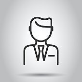 People communication icon in flat style. People vector illustration on white background. Partnership business concept.