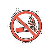No smoking sign icon in comic style. Cigarette cartoon vector illustration on white isolated background. Nicotine splash effect business concept.