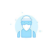 Masked criminal face flat vector icon. Filled line style. Blue monochrome design. Editable stroke