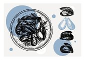 Mussels collage design