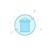 Recycling waste bin flat vector icon. Filled line style. Blue monochrome design. Editable stroke