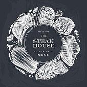 Raw beef steaks vector menu template on chalkboard.